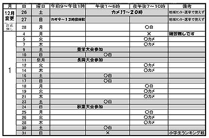 201601練習予定